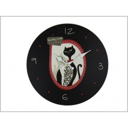 "HORLOGE EN BOIS ""BLACK KITTY"""
