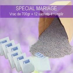700 grs FLEURS DE LAVANDE BLEU SPECIAL MARIAGE + 12 SACHETS